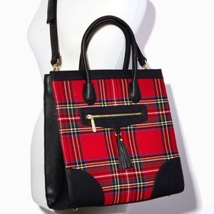 Tartan Plaid and Faux Leather Tote